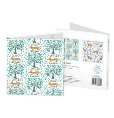 Set of 8 notecards - 2 ass Hares & Foxes
